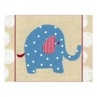 Blue Elephant with White Polka Dots Postcard