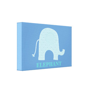 Blue Elephant Wrapped Canvas