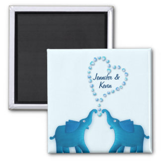 blue elephants 2 inch square magnet