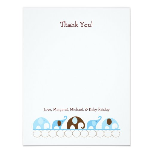 blue elephants baby shower thank you notes card zazzle