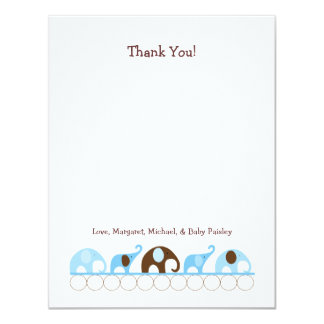 Blue Elephants Baby Shower Thank You Notes Card