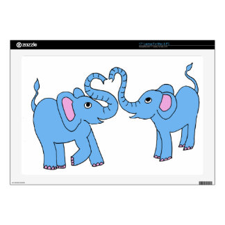 """blue elephants decal for 17"""" laptop"""