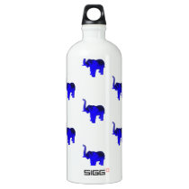 Blue Elephants Pattern Aluminum Water Bottle
