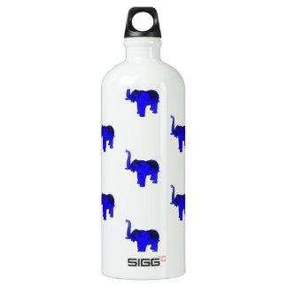 Blue Elephants Pattern Aluminum Water Bottle