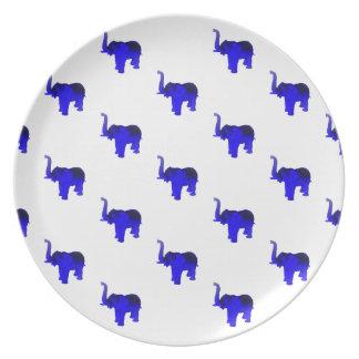 Blue Elephants Pattern Dinner Plate