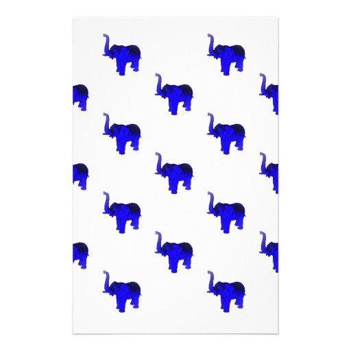 Blue Elephants Pattern Customized Stationery
