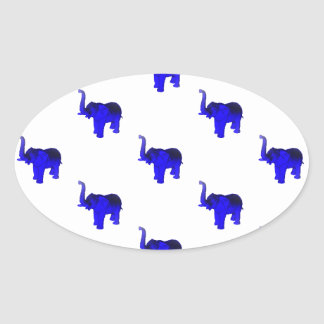 Blue Elephants Pattern Oval Sticker