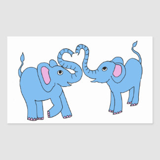 blue elephants rectangular sticker