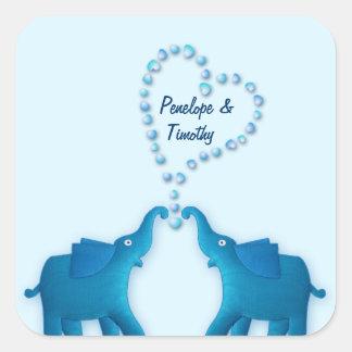 blue elephants square sticker