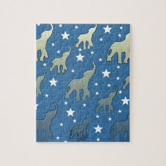 Blue Elephants Stars Pattern Jigsaw Puzzle