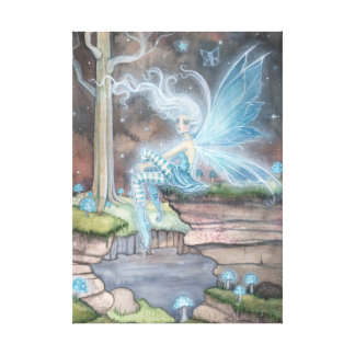 Blue Ember Fantasy Fairy Art Wrapped Canvas Stretched Canvas Print