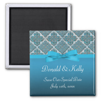 Blue Embossed Damask Wedding Shimmer Magnet