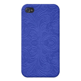 Blue Embossed Floral Design Suede Leather Look iPhone 4 Case