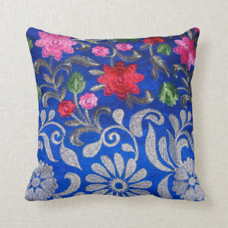 Blue Embroidered Throw Pillow for Home Decor Pillow