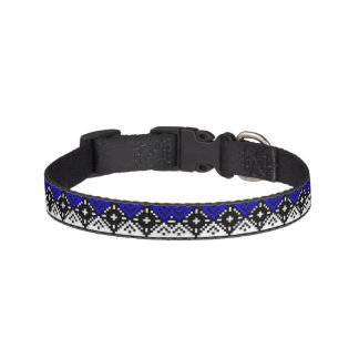 Blue Embroidery Pet Collar