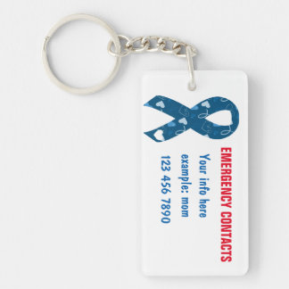 Blue Emergency Contacts/Illness/Meds Keychain