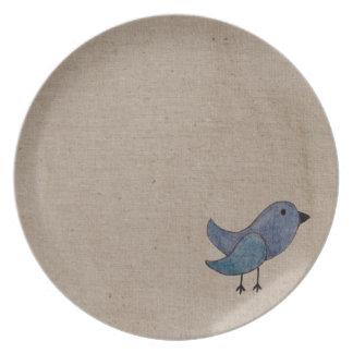 Blue Emo Bird Plate