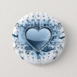 Blue Emo Heart  Button