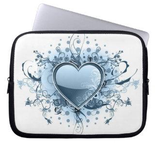 Blue Emo Heart Electronics Bag Laptop Computer Sleeve