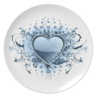 Blue Emo Heart Plate