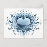 Blue Emo Heart  Postcard
