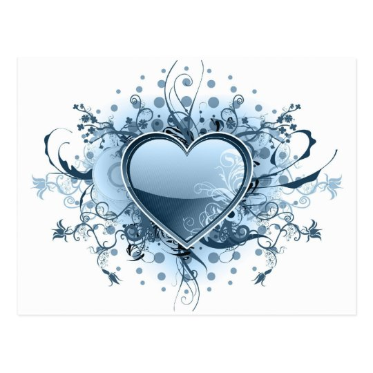Blue Emo Heart  Postcard