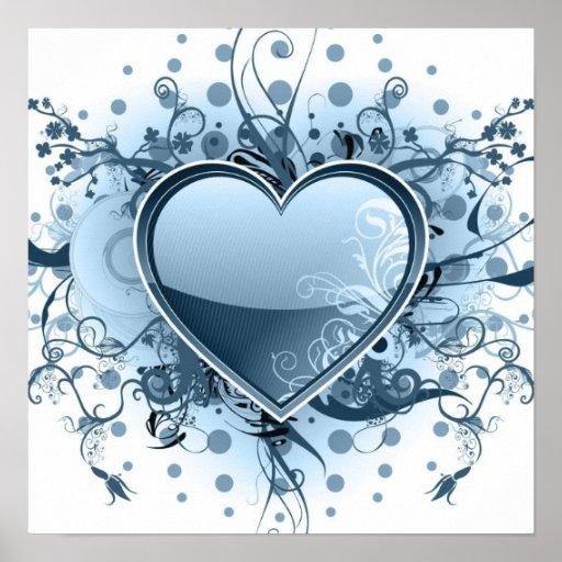 Blue Emo Heart Poster