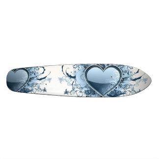 Blue Emo Heart Skate Board Deck