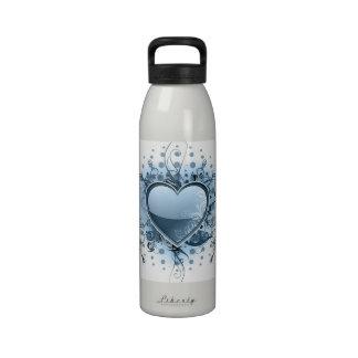 Blue Emo Heart Water Bottle