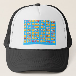 blue emoji trucker hat