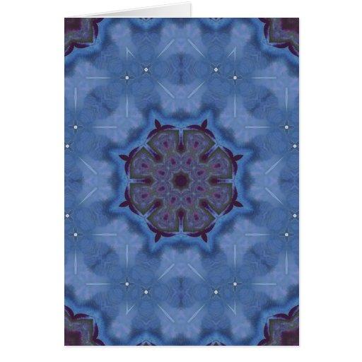 Blue Encaustic Mandala Greeting Card
