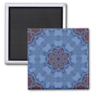 Blue Encaustic Mandala Magnet