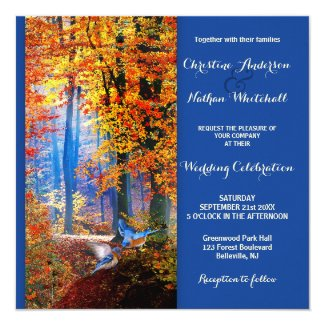 Blue Enchanted Forest Birds Wedding Invitation