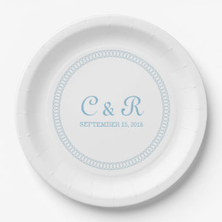 Blue Encircled Round Paper Plates