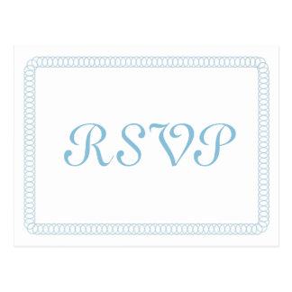 Blue Encircled Rounded RSVP Postcard