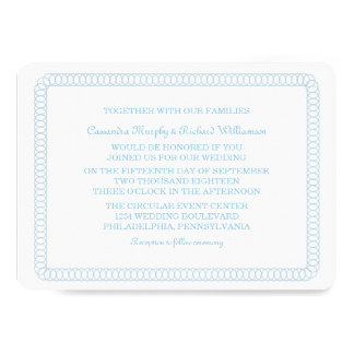 Blue Encircled Rounded Wedding Invite
