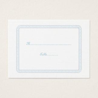 Blue Encircled Rounded Wedding Place Card