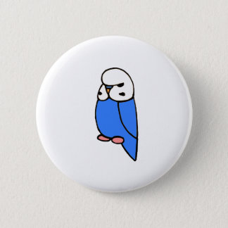 Blue English Budgie Button