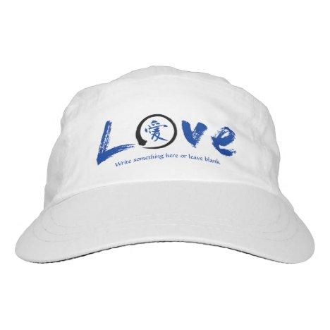 Blue enso circle | Japanese kanji symbol for love Headsweats Hat