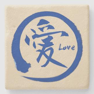 Blue enso circle   Japanese kanji symbol for love Stone Coaster