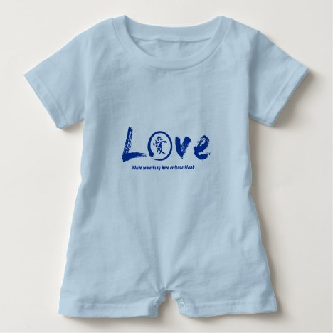 Blue  enso zen circle, Japanese symbol for love Baby Romper