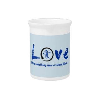 Blue enso zen circle, Japanese symbol for love Beverage Pitcher
