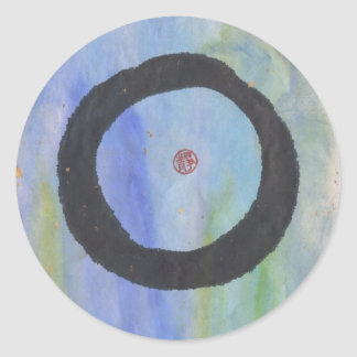 Blue Enso Zen Circle of Tranquility Stickers