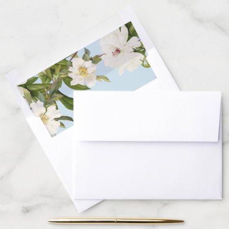 Blue Envelope Liner Vintage White Floral Wedding