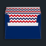 """Blue Envelope With Red White Blue Chevron Print<br><div class=""""desc"""">A Blue Envelope with a Red White and Blue Chevron Print,  Perfect for 5 x 7 Invitations and more.</div>"""