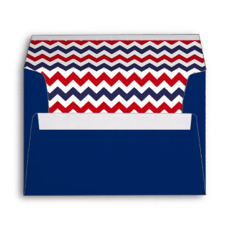 Blue Envelope With Red White Blue Chevron Print