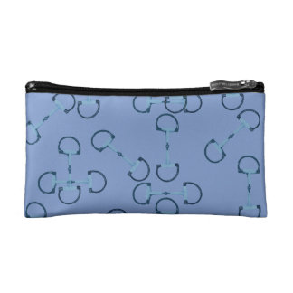 Blue Equestrian Horse Bits Cosmetic Bags