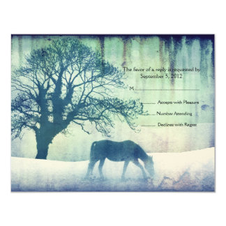 Blue Equestrian Wedding RSVP Card