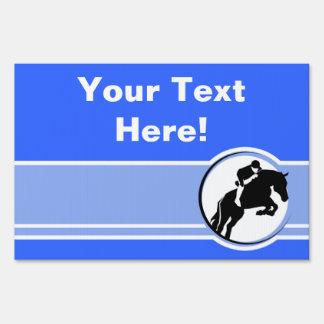 Blue Equestrian Yard Sign