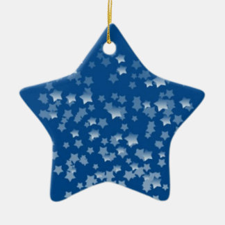 Blue Estrelinha Double-Sided Star Ceramic Christmas Ornament